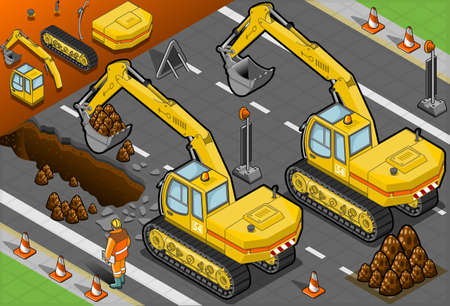 digger: Detailed illustration of a isometric yellow excavator in rear view