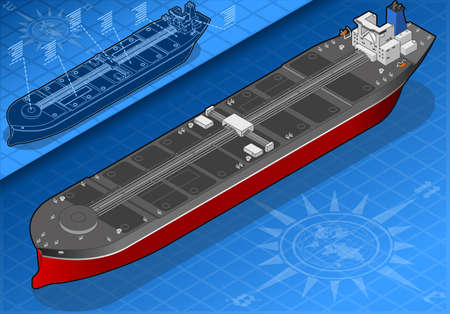 supertanker: Isometric oil tanker in front view