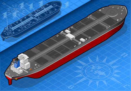 water carrier: Isometric oil tanker in rear view