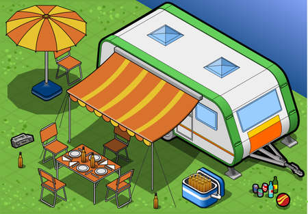 family vacations: isometric roulotte in camping in front view Illustration