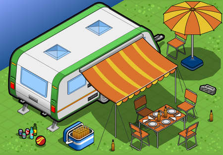 isometric roulotte in camping in rear view Illustration