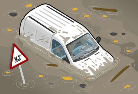 wade: Isometric White Van Flooded in front view Illustration
