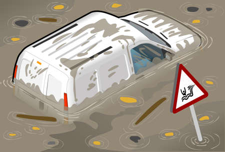 wade: Isometric White Van Flooded in rear view Illustration