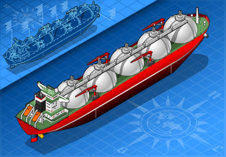 carrier: detailed illustration of a Isometric Gas Tanker Ship in rear view