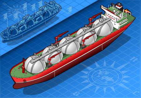 detailed illustration of a Isometric Gas Tanker Ship in front view