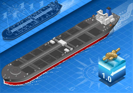 supertanker: detailed illustration of a Isometric Oil Tanker in front view
