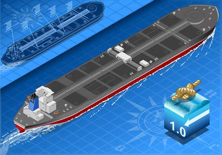 supertanker: detailed illustration of a Isometric Oil Tanker in rear view