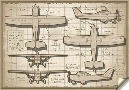 orthogonal: Detailed illustration of a Plane Project in Five Orthogonal views