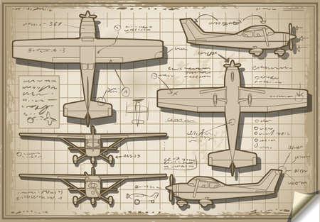 coast guard: Ilustraci?n detallada de un proyecto de avi?n en cinco vistas ortogonales Vectores