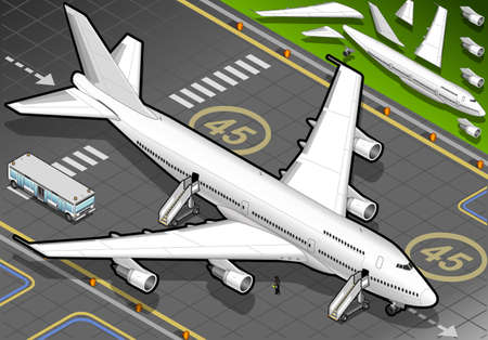landed: Isometric White Airplane Landed in Front View