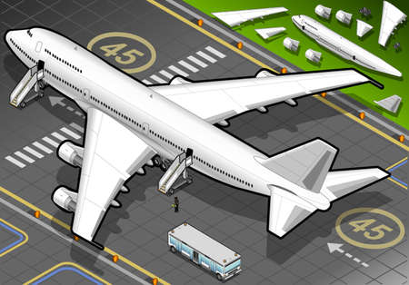 Isometric White Airplane Landed in Rear View Vector
