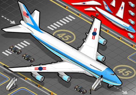 Detailed illustration of a Isometric Air Force One in front view  with presidential limousine Vector