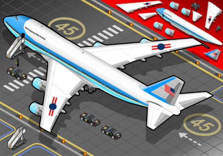 boeing: Detailed illustration of a Isometric Air Force One in rear view with presidential limousine