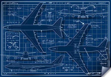 Detailed illustration of a Plane Blue  Project in Five Orthogonal views Vector