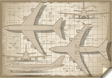 Detailed illustration of a Plane Project in Five Orthogonal views Stock Vector - 19826068