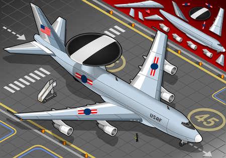 coast guard: Ilustraci�n detallada de un avi�n radar ha aterrizado en la vista frontal Vectores