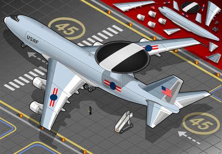 airforce: Detailed illustration of a Radar Plane Landed in rear view Illustration