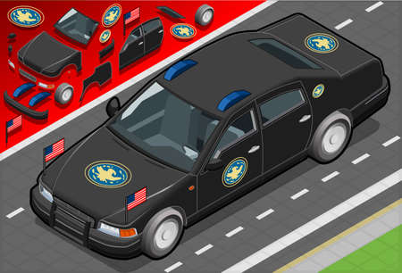 governement: Detailed illustration of a Isometric Presidential Limousine in front view Illustration