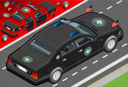 president of the usa: Detailed illustration of a Isometric Presidential Limousine in rear view
