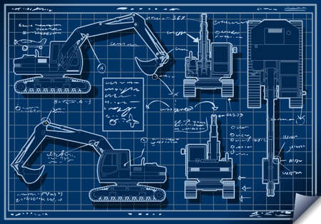 Detailed illustration of a Excavator Blue Project in Five Orthogonal Views Vector