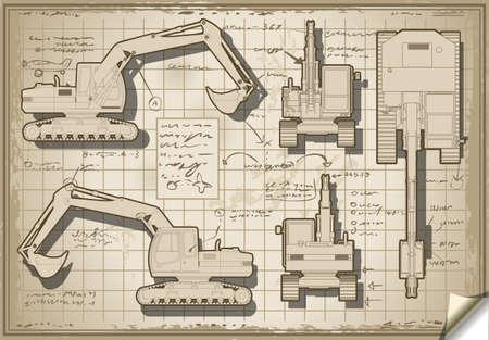 hydraulic platform: Ilustraci�n detallada de un proyecto de excavaci�n en Old Cinco ortogonales Vistas Vectores