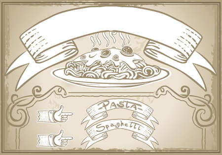 italia: Detailed illustration of a vintage graphic element for first course menu Illustration