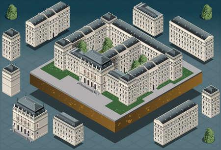 Illustration détaillée d'un bâtiment historique européen isométrique