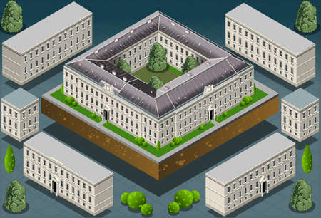 Detailed illustration of a Isometric European historic building  Stock Vector - 19826072