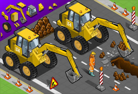 heavy equipment: Detailed illustration of a Isometric Yellow Excavator in front view