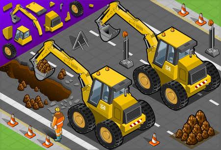 idraulico: Illustrazione dettagliata di un escavatore giallo isometrica in vista posteriore Vettoriali