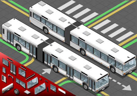 charter: Detailed illustration of a Isometric Long Bus in front view Illustration