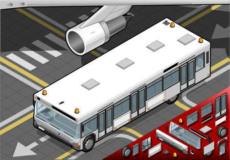 detailed view: Detailed illustration of a Isometric Airport Bus in front view