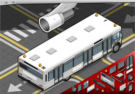 Detailed illustration of a Isometric Airport Bus in rear view Vector