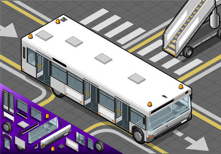 Detailed illustration of a Isometric Airport Bus with Open Doors in Front View Vector