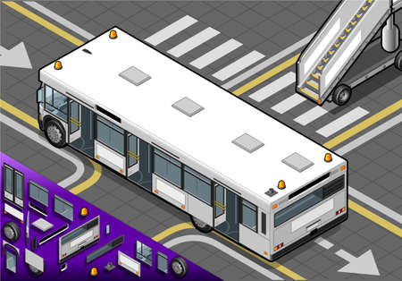 Detailed illustration of a Isometric Airport Bus with Open Doors in Rear View Vector