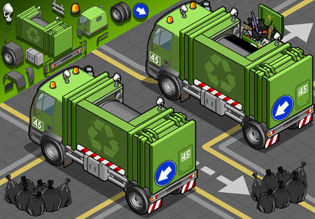 bag of soil: Detailed illustration of a Isometric Garbage Truck in rear view This illustration is saved in EPS10 with color space in RGB.