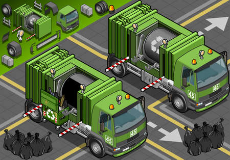 Detailed illustration of a Isometric Garbage Truck in front view