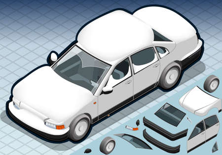 snowed: Detailed illustration of a four Isometric Snow Capped White Car in Front View