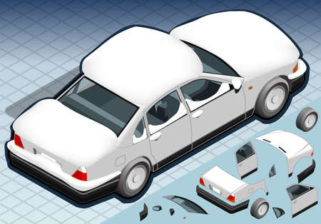 snow tires: Detailed illustration of a four Isometric Snow Capped White Car in Rear View Illustration