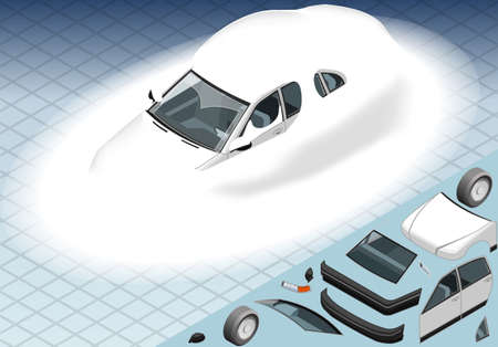 snow tire: Detailed illustration of a four Isometric Snow Capped White Car in Front View