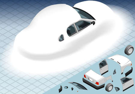 snow tire: Detailed illustration of a four Isometric Snow Capped White Car in Rear View Illustration