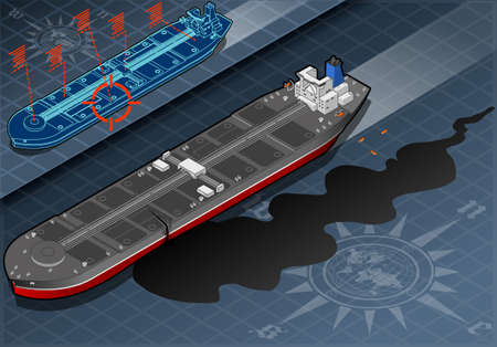 Detailed illustration of a Isometric Ship Tanker Leaky Oil in Front View Vector