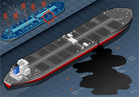 lifeboat: Detailed illustration of a Isometric Ship Tanker Leaky Oil in rear view