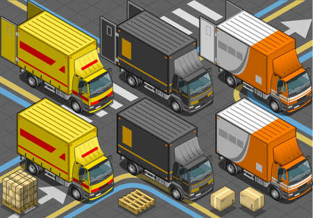 flashing: Detailed illustration of a Isometric Delivery Truck in Three Livery