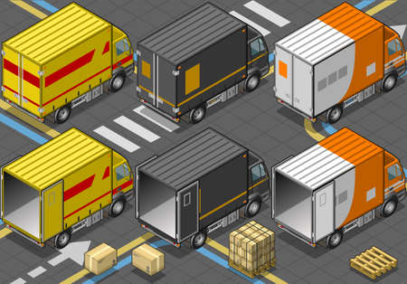Detailed illustration of a Isometric Delivery Truck in Three Livery Vector