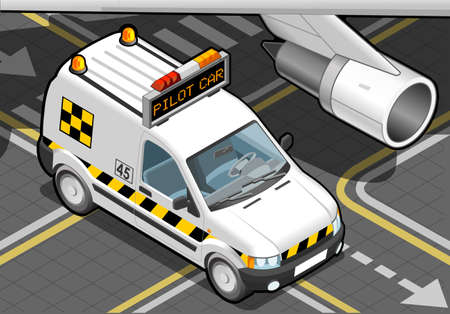 Detailed illustration of a Isometric airport Follow-me-Car in  front view Stok Fotoğraf - 20276561