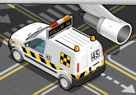 Detailed illustration of a Isometric airport Follow-me-Car in  rear view