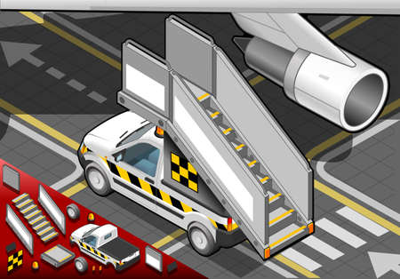 Detailed illustration of a Isometric Airport Boarding Stair Car in  rear view Çizim