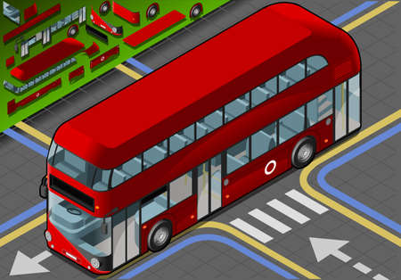 decker: Detailed illustration of a Isometric Double Decker Bus in front view