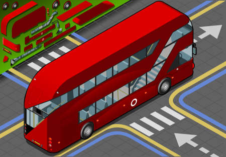 decker: Detailed illustration of a Isometric Double Decker Bus in rear view